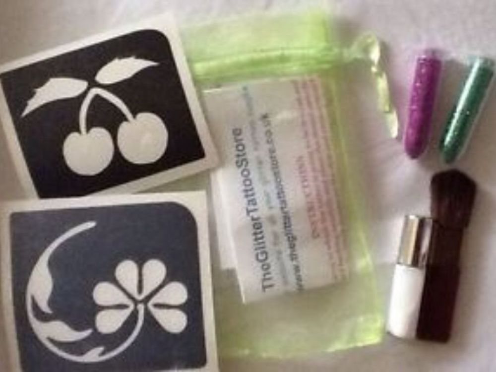 GIRLS CHERRY/FLOWER GLITTER TATTOO KIT-GLUE/STENCILS/PINK GREEN GLITTER/BRUSH